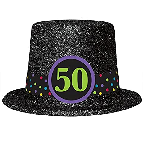 Amazon 50th Birthday Glitter Top Hat Toys Games