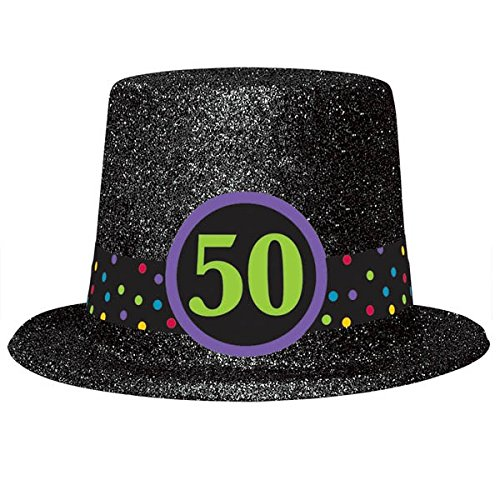 50th Birthday Glitter Top Hat ()