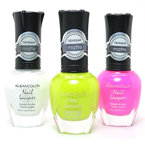 3 Kleancolor Nail Polish Matte Color White Lime Hot Pink Opaque Lacquer + FREE EARRING