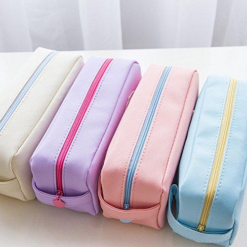 westeng Studenten Stift Bleistift Fall Tasche Tasche für die Stationery Case Kosmetik Make-up-Tasche Große Kapazität candy Farbe 18.5*9.5*6.5cm blau violett JLGEFxmQy