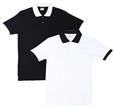 54f1d3fab26 Fleximaa Men s Cotton Polo Collar T-Shirts With Pocket Opposite Color Collar    Cuff (