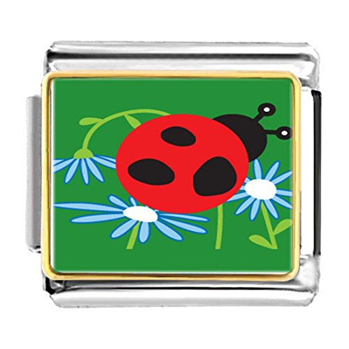 GiftJewelryShop Gold Plated Curious Ladybug Bracelet Link Photo Italian Charm