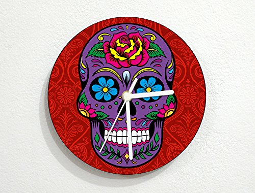 [Sugarskulls - Day of the Dead - Dia De Los Muertos - Wall Clock] (Costume Ideas For Day Of The Dead)