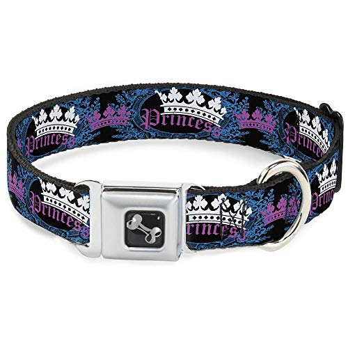 Crown Belt Princess (Buckle-Down Seatbelt Buckle Dog Collar - Crown Princess Oval Black/Turquoise - 1.5