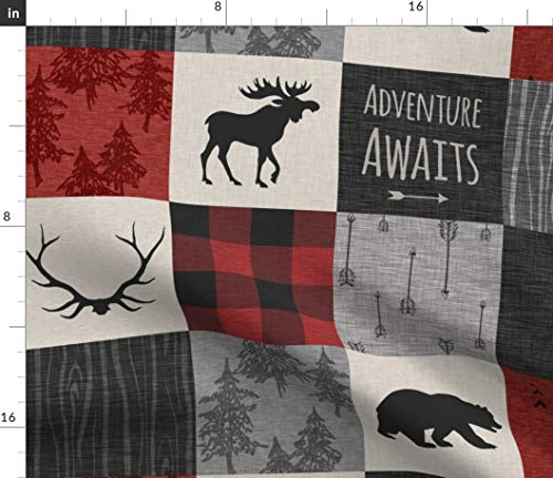 Woodland Cabin Squares Fabric - Black And Red Buffalo Check Moose Bear Woodland Lumber Jack Timber Print on Fabric by the Yard - Petal Signature Cotton for Sewing Quilting Apparel Crafts Decor