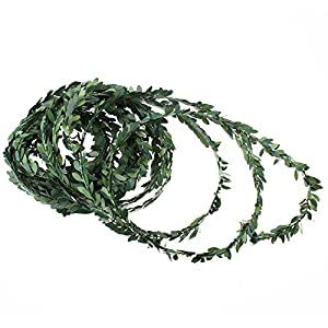 LJY 32.8 Yards Artificial Ivy Garland Foliage Green Leaves Fake Vine for Wedding Party Ceremony DIY Headbands 25