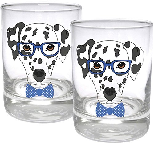 - Circleware 15501 Dalmatian Dogs Double Old Fashioned Whiskey, Set of 2 Kitchen Drinking Glasses Glassware for Water, Juice, Beer and Best Bar Barrel Liquor Dining Decor Beverage Gifts, 11.25 oz, Blue,
