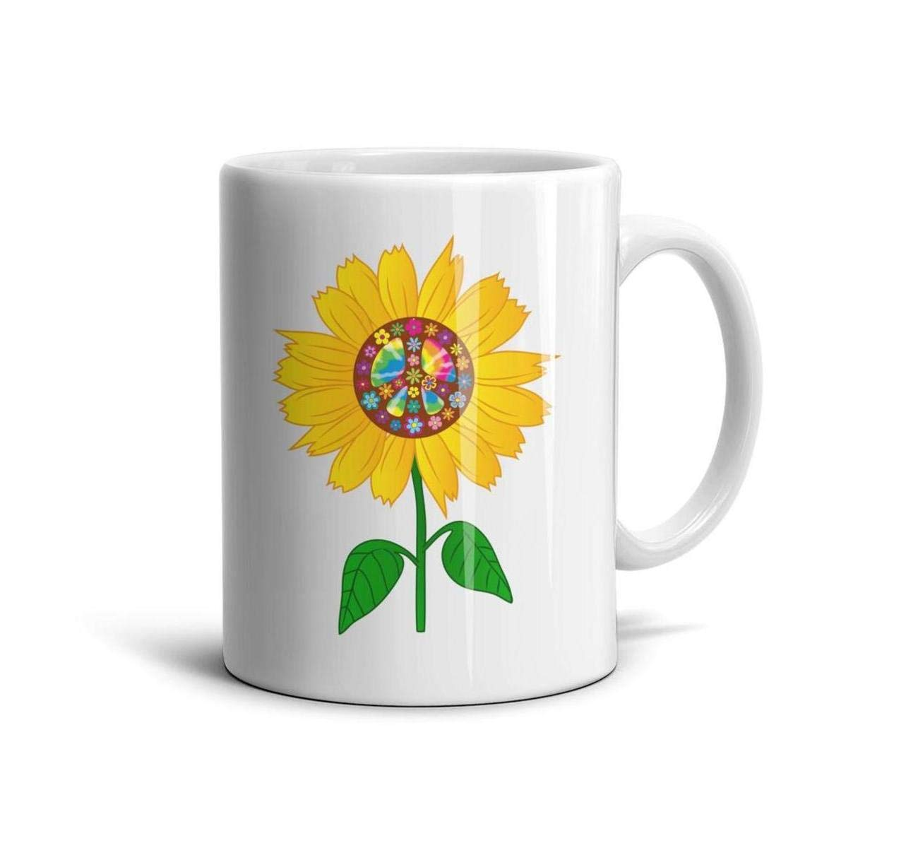 devrrssx Sunflower and Peace Sign Cool Coffee Mug Set Great Gift 1 Set for Office and Home for momMaximum Capacity 13.5oz