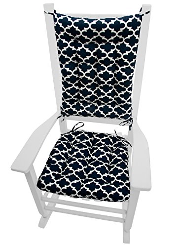 Fulton Navy Blue Quatrefoil Rocking Chair Cushions - Size Extra-Large - Indoor / Outdoor: Fade Resistant, Mildew Resistant - Latex Foam Fill (Presidential)