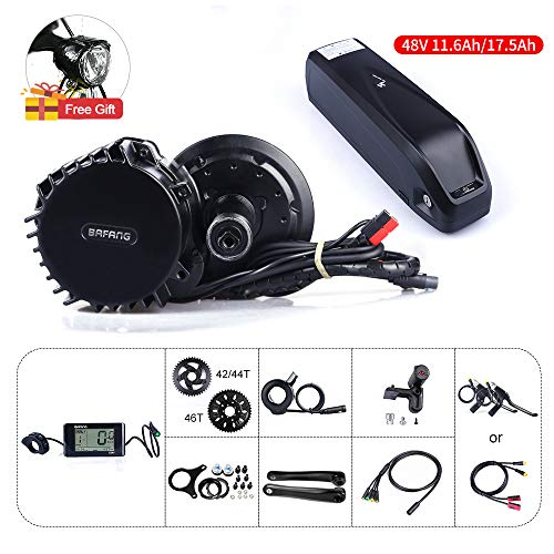 JUNSTAR 8fun Bafang BBSHD BBS03 48V 1000W Mid Motor Ebike Conversion Kit with Hailong Lithium Battery 11.6Ah 17.5Ah