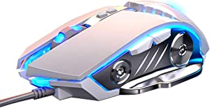 LENRUE Gaming Mouse Wired, Ergonomic Computer Mice with 7 Programmable Buttons, 4 Circular & Breathing LED Light, 4 Adjustable DPI Up to 3200 for PC Mac Laptop and Gamer