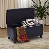 "Giantex 32"" Storage Ottoman Bench Faux Leather Seat Tufted Footrest with Lift Top, Black"