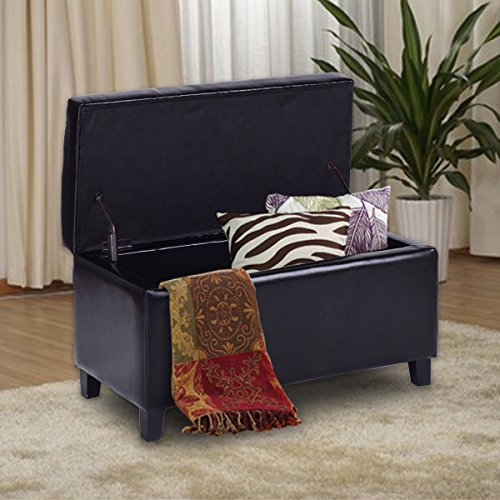 Giantex 32'' Storage Ottoman Bench Faux Leather Seat Tufted Footrest with Lift Top, Black