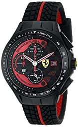 Ferrari Men\'s 0830077 Race Day Chronograph Black Rubber Strap Watch