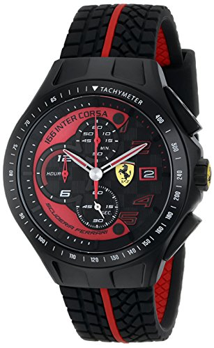 best birthday present for boyfriend, Ferrari Men's 0830077 Race Day Chronograph Black Rubber Strap Watch