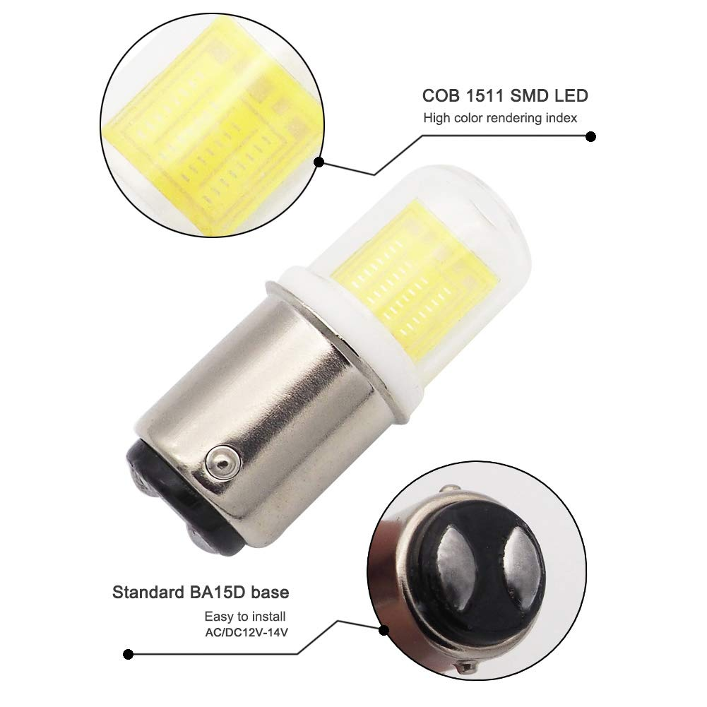 14V 40W Halogen Bulbs Replacement Bulbs Cool White Pack of 10 Glming Ba15d Led Bulb 4W 1511 COB Light Double Contact Bayonet Base AC//DC 12V