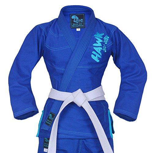 Hawk Ladies Brazilian Jiu Jitsu Suit Female BJJ Gi Kimonos Women Girls BJJ Uniform Preshrunk Pearl Weave Fabric New Top Quality, with Free White Belt, 1 Year Warranty!!! (F3, Blue)