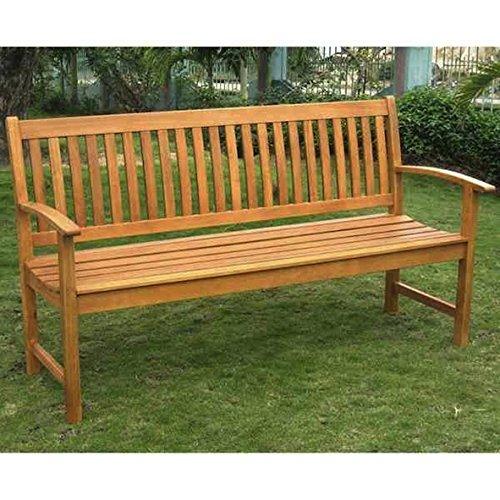 Balau Wood - International Caravan Royal Tahiti Yellow Balau Wood 3-seater Park Wood Outdoor Bench