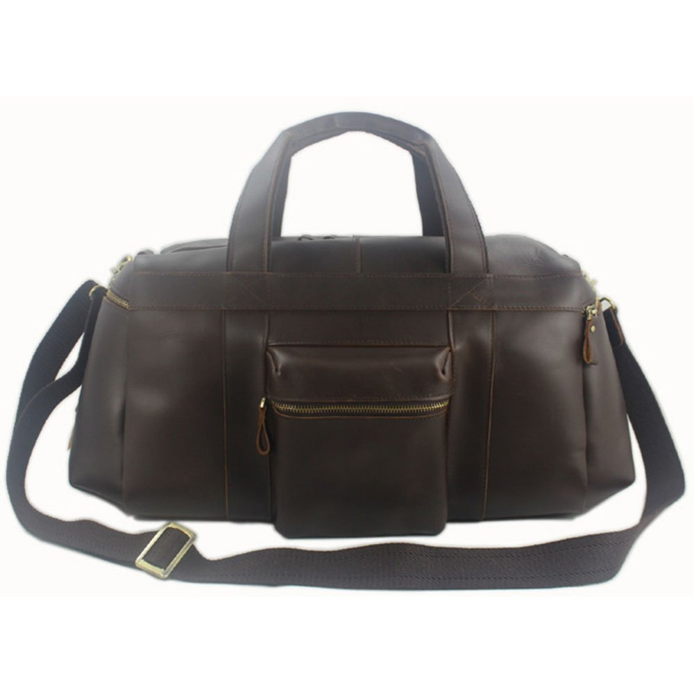 Color : Brown Ybriefbag Unisex Mens Leather Travel Luggage Bags Large Capacity Handbags Weekend Activity Pack Vacation