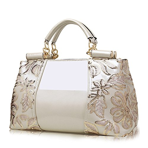 (JVPS 29-R) señoras bordado de cuero esmalte mujeres diagonal bolso diagonal bolsa de cercanías OL todos los 5 colores de alta calidad PU Blanco, Blanca