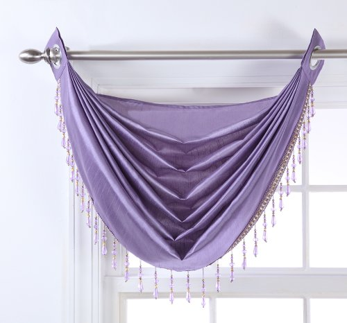Stylemaster Chelsea Grommet Waterfall Valance with Beaded Trim, 36-Inch by 37-Inch, (Purple And Teal Valance)