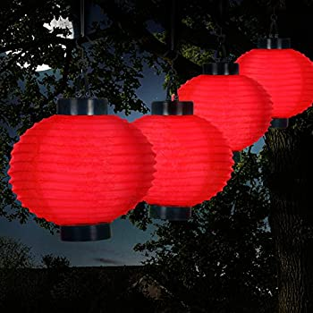 Pure Garden 50-19-R Outdoor Solar Chinese LED Lanterns, Red