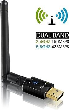 EDUP Adaptador WiFi AC600(2.4GHz 150Mbps+5.8GHz 433Mbps) Dual Band USB WiFi Adapter 2dBi Antenas Externas para Windows XP / 7/8 / 8.1/10 / Mac ...