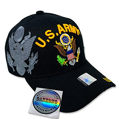 DANKONG U.S. Army Hat -Official Licensed US Warriors Military 3D Embroidered Baseball Cap with Size Adjustable Hoop and Loop Closure for Men and Women - U.S. Army - Eagle - Black