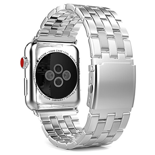 - MoKo Compatible Band Replacement for Apple Watch 42mm 44mm Series 4/3/2/1, Stainless Steel Metal Replacement Band with Double Button Folding Clasp - Silver (Not Fit iWatch 38mm 40mm)