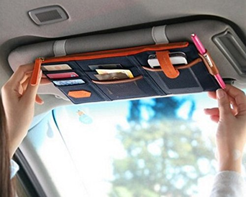 TrueLine Multi-purpose Auto Car Sun Visor Organizer Card Storage Holder Phone holder (Navy (Ford Explorer 2004 Sun Visor)