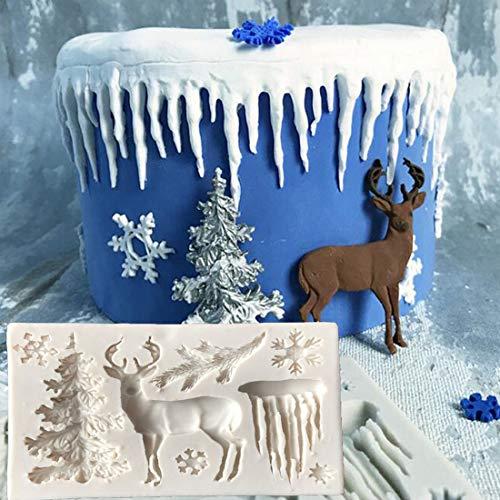 Fondant Impression Mat, Chirstmas Tree Elk Snowflake Icicle Design Silicone Cake Decorating Supplies for Cupcake Wedding Cake Decoration