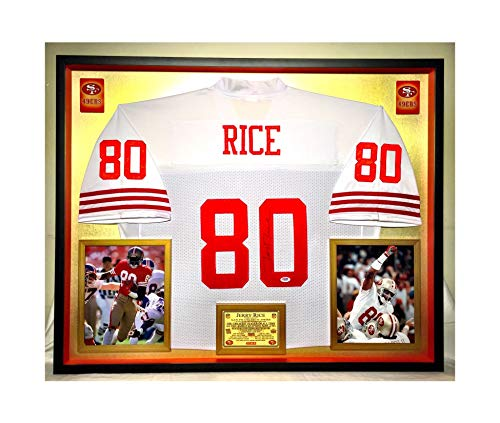 Premium Framed Jerry Rice Autographed/Signed San Francisco 49ers Official Mitchell & Ness Jersey - PSA - Jerry Rice Signed Jersey