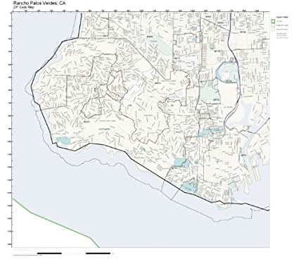 Palos Verdes Zip Code Map.Amazon Com Zip Code Wall Map Of Rancho Palos Verdes Ca Zip Code
