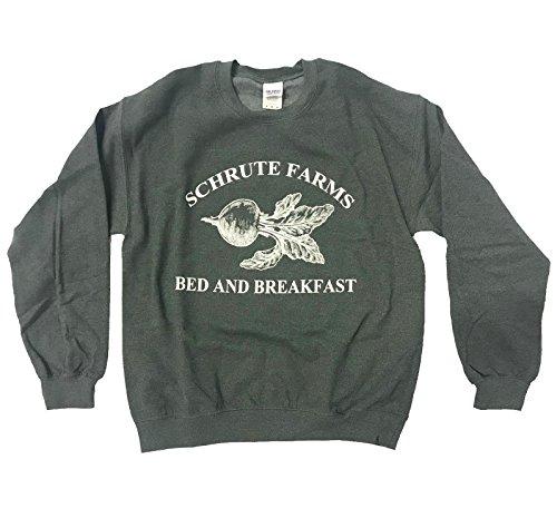iApparel Schrute Farms Bed and Breakfast Dark Heather Grey Men Sweatshirt (2X-Large)