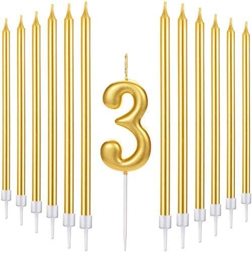 مجموعة شموع كعكة عيد ميلاد سعيد من Tatuo تحتوي على شمعة معدنية رقمية 20 قطعة من شموع عيد الميلاد رفيعة ذهبية لذكرى أعياد الميلاد Number 3 Amazon Ae