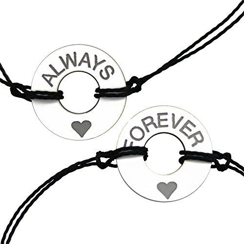 Life Token Handmade Couples Customized Engraved Bracelet Message Always/Forever Jewelry Gift (White w/Silver Engraving) by Life Token