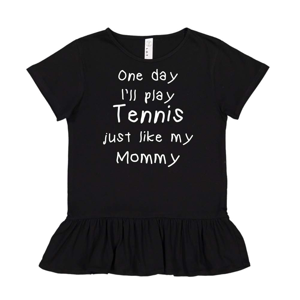 Toddler//Kids Ruffle T-Shirt One Day Ill Play Tennis Just Like My Mommmy