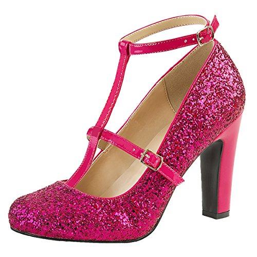 Heels-Perfect - Zapatos de vestir de Material Sintético para mujer Rosa (Pink)