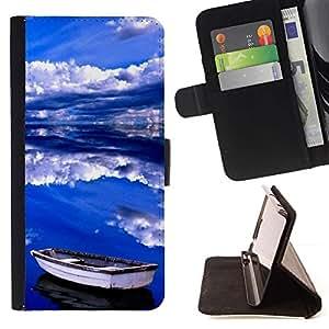 Momo Phone Case / Flip Funda de Cuero Case Cover - Nubes Mar Verano Tormenta Azul - Samsung Galaxy J1 J100