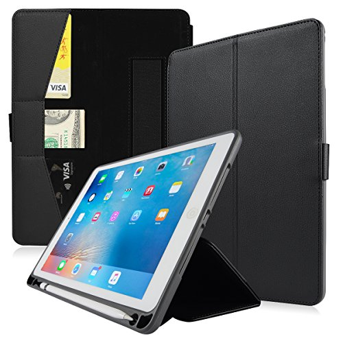 Valkit for iPad Pro 9.7 Cover, New iPad 9.7 2017/2018 Case, Shockproof Smart Stand Protective Case with Credit Card holder for Apple iPad Air/iPad Air 2 5th 6th with Pencil Holder, Black by Valkit