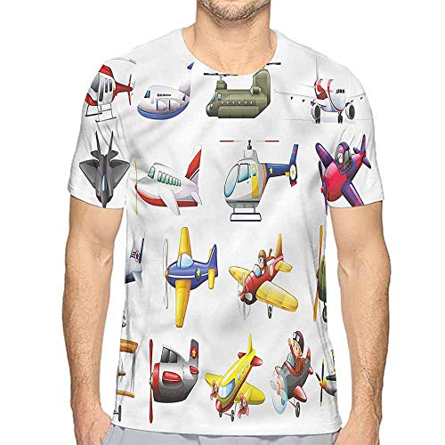 bybyhome Funny t Shirt Boys Room,Aero Vehicles Aircrafts Men's and Women's t Shirt S