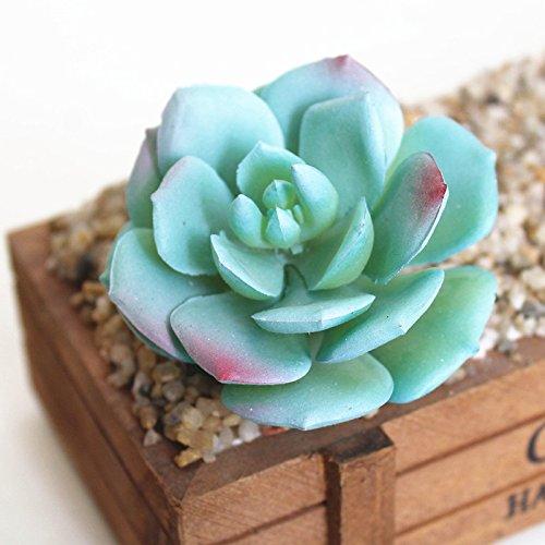 Zehui Lifelike Artificial Succulents Multi Type PVC Plant Garden Miniature DIY Home Floral Decor,Snow rose