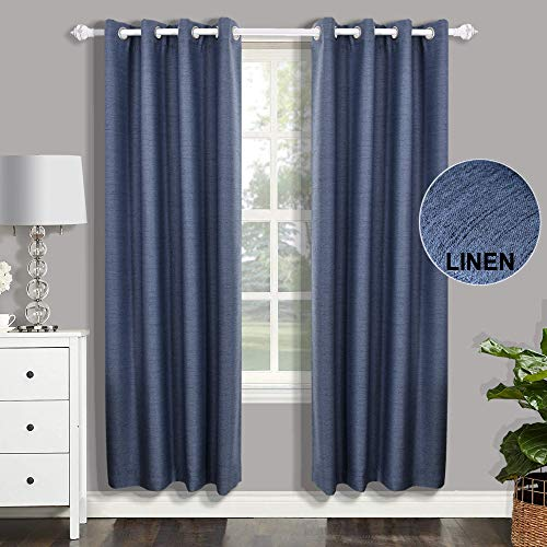 CSOFT Linen Blackout Curtain Thermal Insulated Energy Linen Texured Window Curtains(Valance) with Grommets top Darkening Drapes for Bedroom Living Room (1 Panel,52WX 63L Inch, Blue (Drapes Chocolate Blue And)