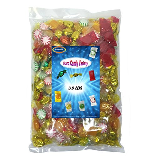 Halloween candy Assorted Wrapped Hard Candy Variety Mix 3.5 Lbs - Peppermint Starlights, Cinnamon Disks, Butterscotch Disks and Filled (Starlight Mix)