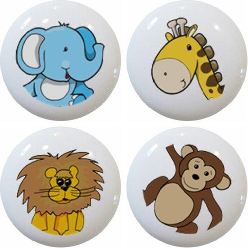 Animals Knob - Carolina Hardware and Decor 1255 Zoo Jungle Safari Animal Head Ceramic Cabinet Drawer Knobs, Set of 4