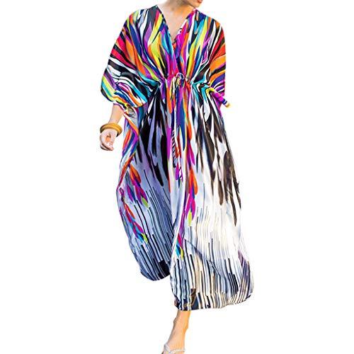 ballboU-Women Sexy V-Neck Oversized Open Front Cardigan Rainbow Zebra Stripes Swimsuit Cover Up Drawstring Waist Maxi Dress ()