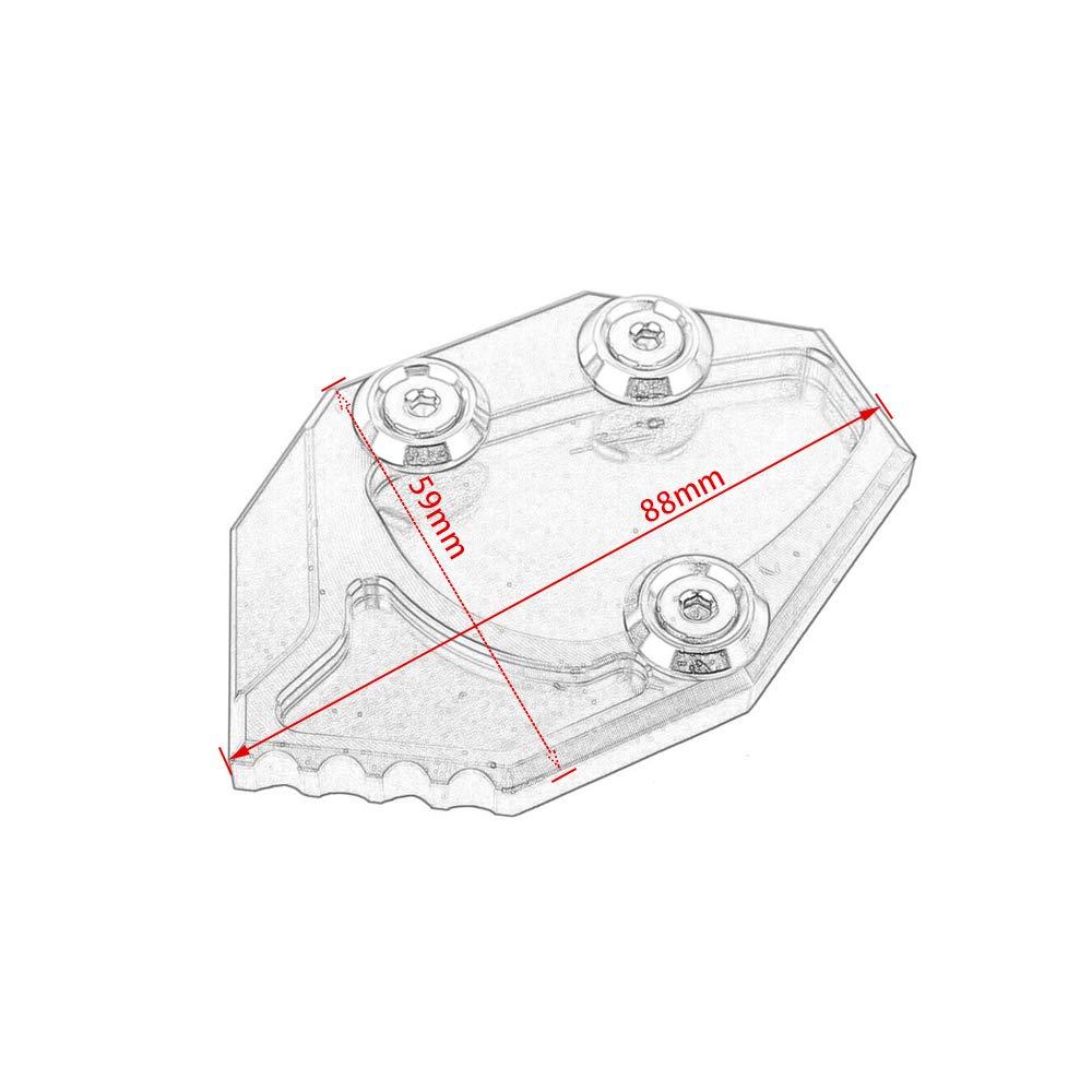 Motocicleta Side Stand Kickstand Extensi/ón de soporte lateral Ampliaci/ón de la almohadilla de placa Accesorio para 2006 2007 2008 2009 2010 KAWASAKI ZX14R Negro GTR1400 ZZR1400 ZX14 ZX1400