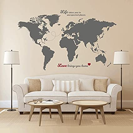 Timber Artbox World Map Wall Decal With Quotes Best For Adventurers And Travellers Health Personal Care