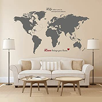 Wall World Map Amazon.com: Timber Artbox Huge World Map Wall Decal with Quotes