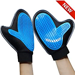 Bonve Pet Dog Grooming Glove – Efficient Pet Deshedding Brush Glove Best Hair Remover for Long Short Hair Dogs Cats blue …